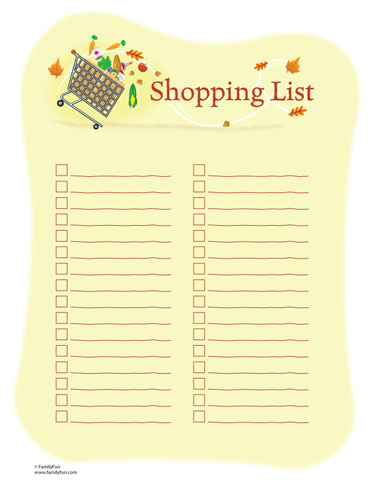 shopping list by department