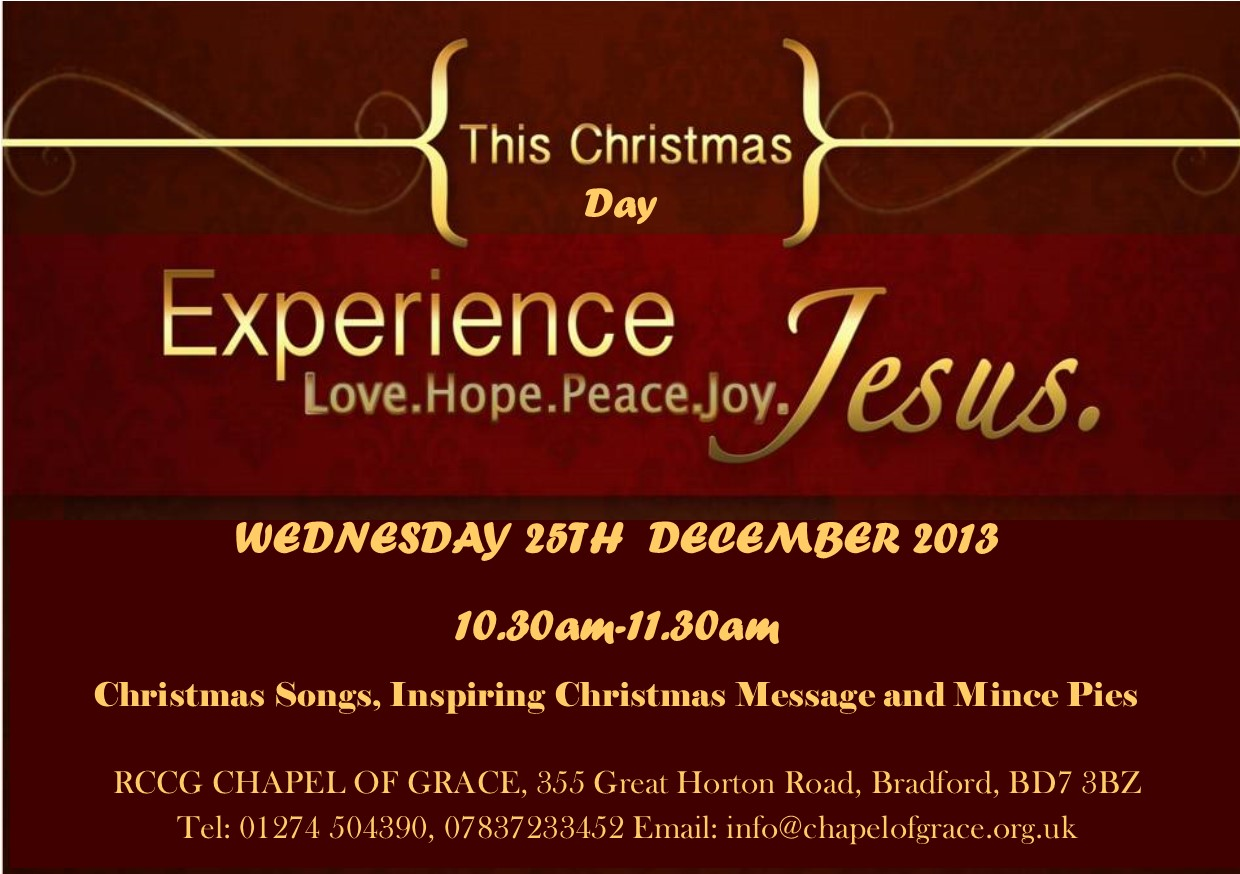 Christmas Day Service | CHAPEL OF GRACE BRADFORD | RCCG Church in ...
